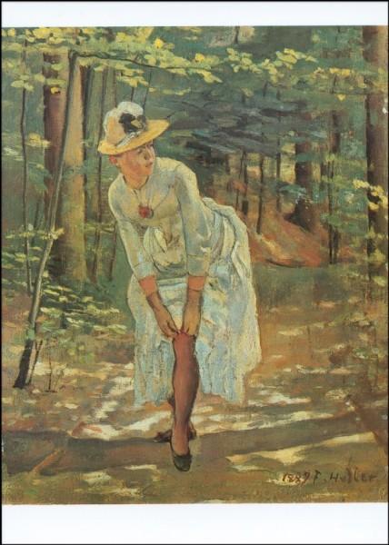 Holder, Ferdinand. Die Frau mit dem Strumpfband, 1887. KK