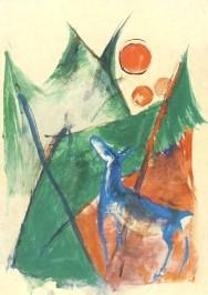 Franz Marc. Blaues Reh im Walde, 1914