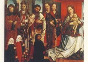 Thronende Muttergottes mit fünf Heiligen und Stifterfamilie