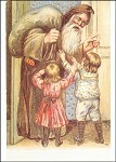 Weihnachtsmann mit zwei Kindern. Altes Motiv um 1900. KK