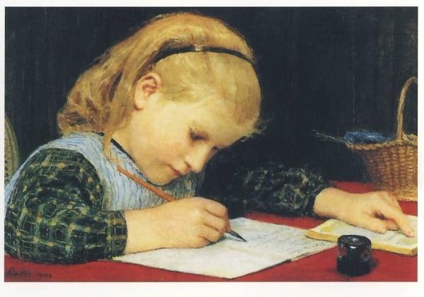 Albert Anker. Schreibendes Mädchen, 1904. KK