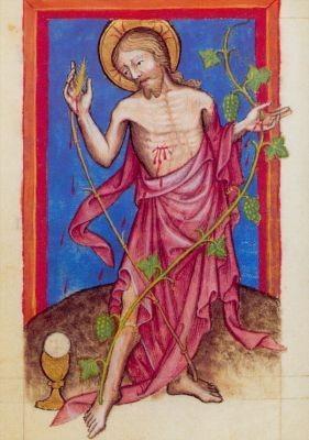 Christus mit eucharistischen Symbolen. Gebetbuch 15. Jh. KK