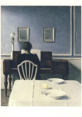 Vilhelm Hammershoi. Interieur mit junger Frau am Klavier