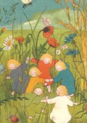 Sybille von Olfers. Kinder auf der Blumenwiese. KK
