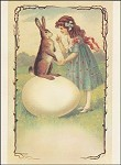 Osterhase mit Mädcher. Altes Motiv um 1900. KK