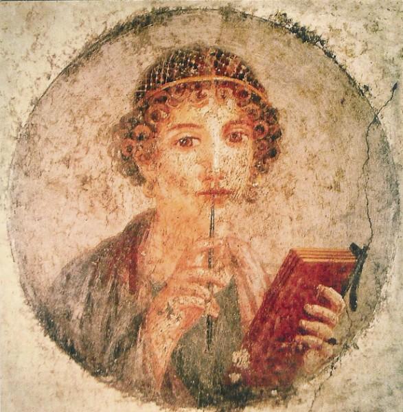 Pompeijanisches. Schreibendes Mädchen. Fresko. KK