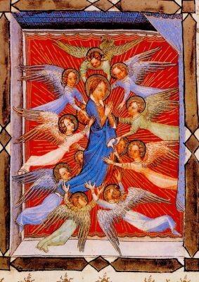 Visconti. Engel begleiten Maria in den Himmel, um 1395. KK