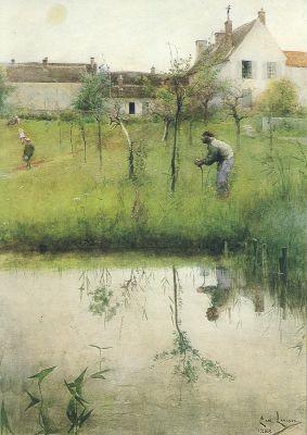 Carl Larsson. Der alte Mann und die Neupflanzung, 1883