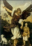 Tizian. Erzengel Raphael mit dem kleinen Tobias. KK
