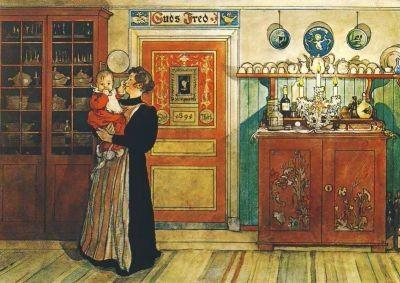 Mutter und Kind im Zimmer, Larsson