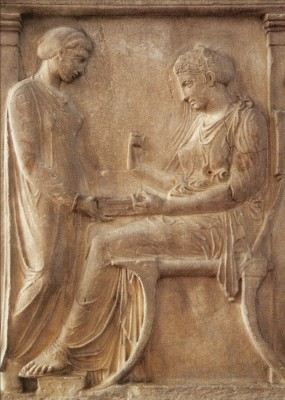 Griechisch.Hegesos u.ihre Dienerin,Grabstelle,um 400v.Chr.KK