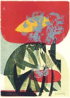 Grieshaber, H.-A.-P. Rote Blüte, 1958. KK