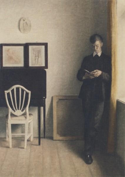 Vilhelm Hammershoi. Interieur mit lesendem jungen Mann, 1898
