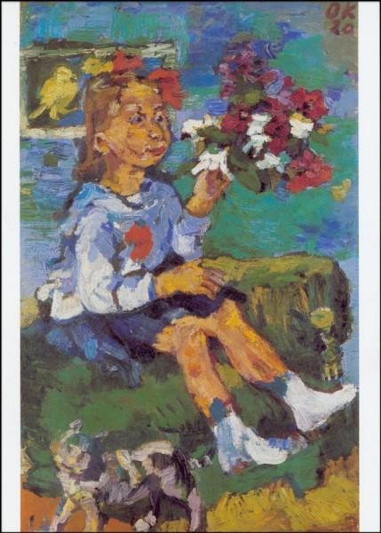 Kokoschka, O. Kind mit Blumen und Katze, 1920. KK