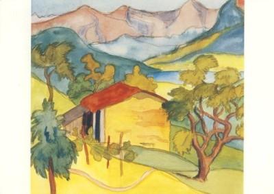 Hermann Hesse. Stall und Berge, Aquarell August 1925