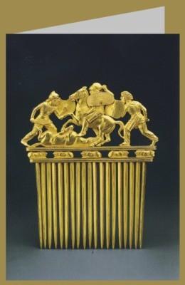 Skythisch. Bartkamm mit Darstellung käpfende, um 400 v. Chr.