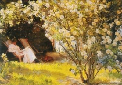 Kröyer. Rosen, die Frau des Künstlers im Garten, 1893