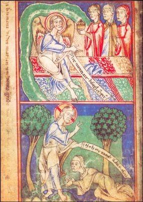 Die Frau am Grab. Hildegard Gebetbuch um 1190. KK