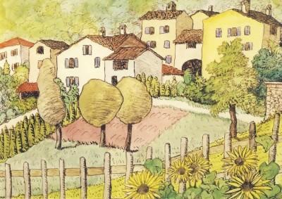 Hermann Hesse. Dorf mit Sonnenblumen, 1929