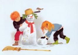 Gerda Muller. Winter, Kinder bauen einen Schneemann. KK