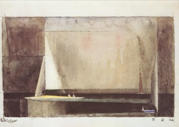 Lyonel Feininger. Drei Segelboote, 1926. KK