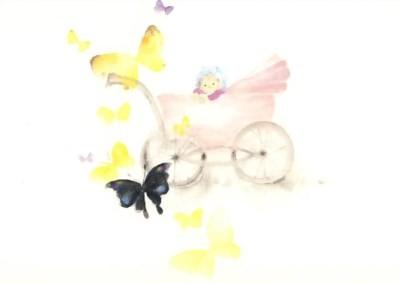 Chihiro Iwasaki. Schmetterlinge u. Baby im Kinderwagen, 1967