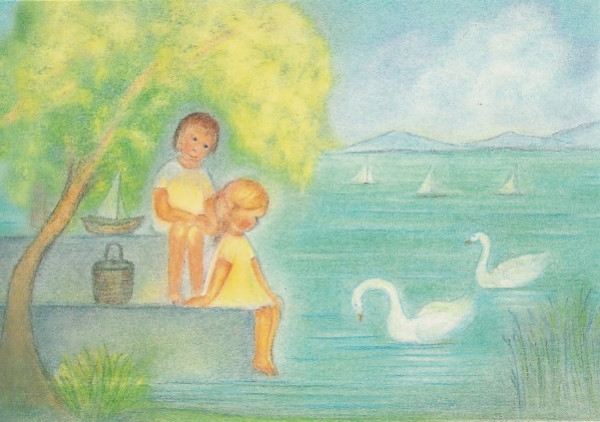 Ruth Elsässer. Juli - Zwei Kinder am Ufer des Sees
