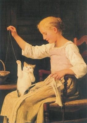 Albert Anker. Mädchen mit seiner Katze spielend, 1887. KK