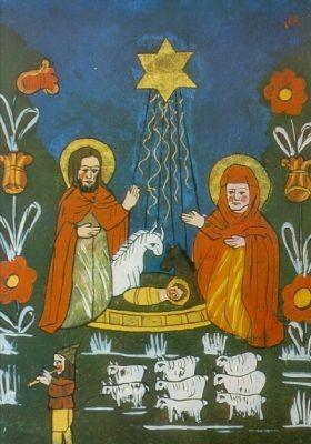 Horndasch, Erich. Weihnachten, Hinterglasbild, 19. Jh. KK