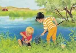 Gerda Muller. Sommer, Kinder beim angeln. KK