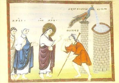 Heilung des Blindgebohrenen, Egbert-Kodex, um 980. KK