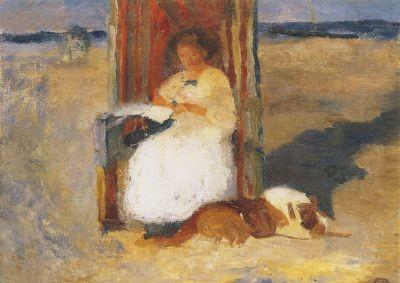 Elisabeth Büchsel. Lesende Frau im Strandkorb, um 1912