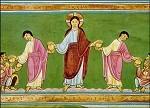 Brotvermehrung, Evangeliar aus Echternach um 1040. KK