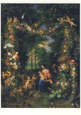 Brueghel. Die Heilige Familie/Blumen-u.Früchtekranz, Auss.KK