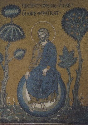Ruhetag des Schöpfers, um 1174. Mosaik. KK