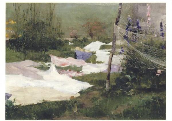 Helene Schjerfbeck. Trocknende Kleider (Wäsche), 1883. KK