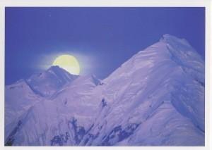 Souders/Stone. Moon behind peak of Mt. Brooks. Foto KK