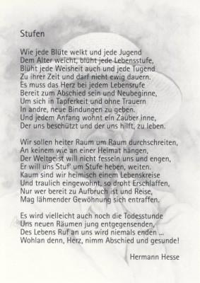 """Hermann Hesse. Stufen. Aus: """"Die Gedichte"""""""