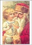 Weihnachtsmann mit Kind. Altes Motiv um 1900. KK