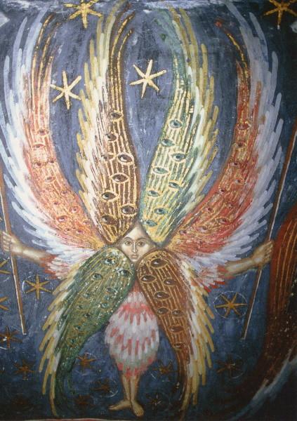 """Engelwesen aus """"Himmlische Hierarchien"""",Anf.16.Jh.Fresko"""
