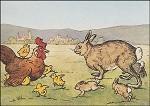 Osterhase mit Huhn. Altes Motiv um 1900. KK