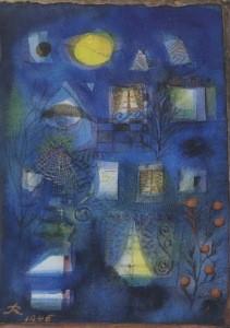 Reichel, Hans. Tiefblaues Gartenbild mit gelbem Vollmond