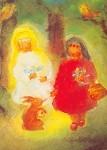 Dorothea Schmidt. Kinder mit Hase. Aus: Schneew/Rosenrot