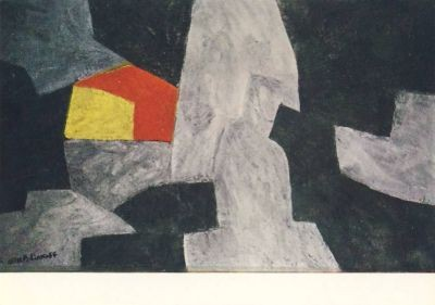 Poliakoff, S. Komposition in Schwarz, Grau, Rot und Gelb. KK