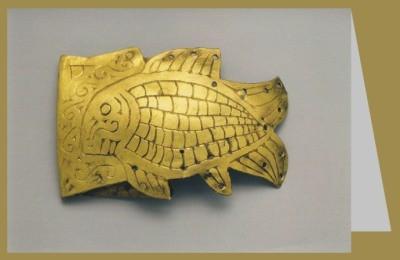 Skythisch. Schmuckplatte in Form e. Fisches, um 350 v. Chr.