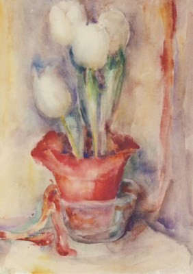 M.I. Hummel. Weiße Tulpen in rotem Topf, 1935/36