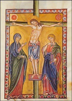Kreuzigung. Bamberger Psalter 13. Jh. KK