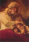 Rembrandt. Jakob segnet die Söhne. KK