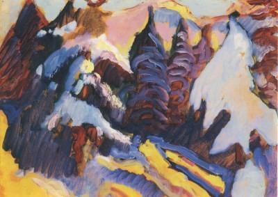 Wassily Kandinsky. Verschneite Bäume in Kochel, 1909