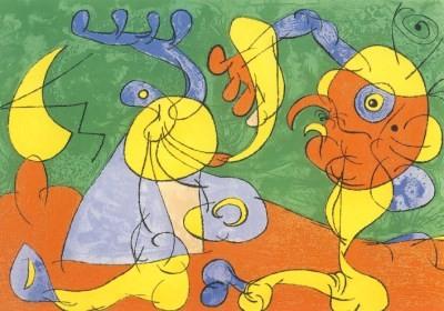 Joan Miró. Adlige in der Fallgrube, Lithographie